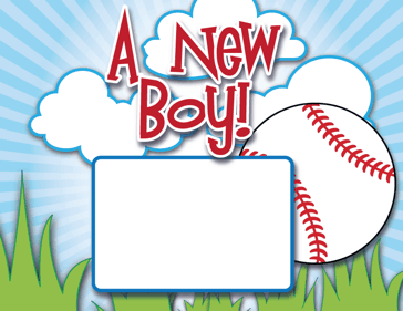 Printable Baseball Birth Announcement with picture box