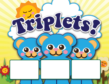 Printable Triplet Animals Birth Announcement with picture box