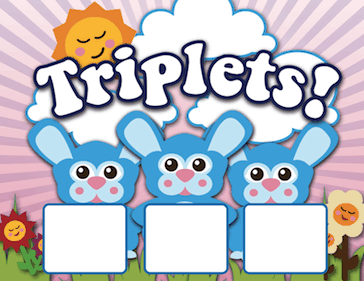 Printable Triplet Bunnies Birth Announcement with picture box