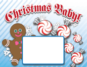 Printable Christmas Candy Birth Announcement with picture box