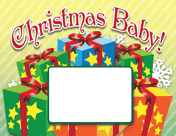 Printable Christmas Presents Birth Announcement with picture box